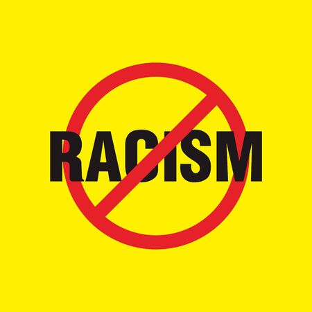 stop racism black and yellow color, vector eps