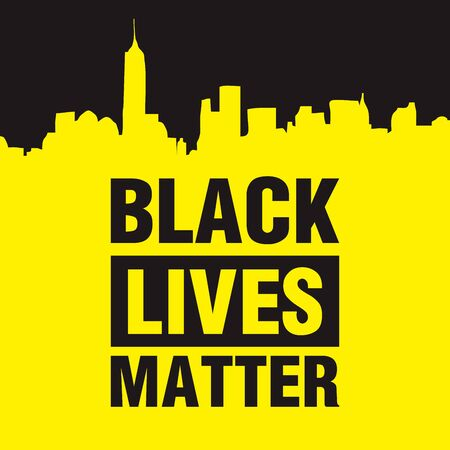 Black lives matter modern logo, banner, design concept, sign, with black and yellow text on a flat black background. Logo
