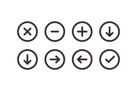 arrow line icon set vector