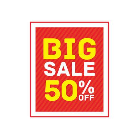 50% off big sale badge sticker, banner vector