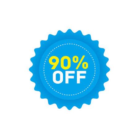 90% off big sale badge sticker, banner vector eps