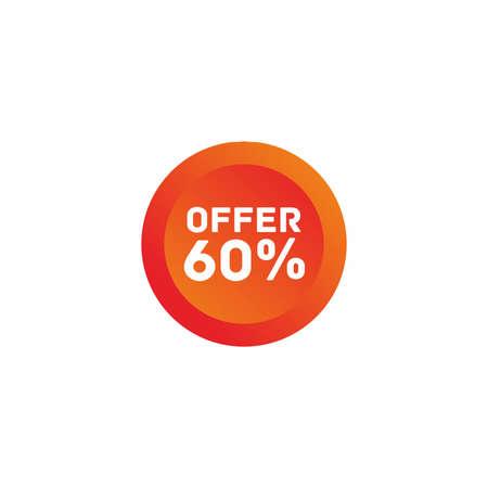 60% off big sale badge sticker, banner vector eps