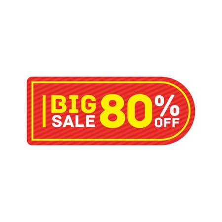 80% off big sale badge sticker, banner vector