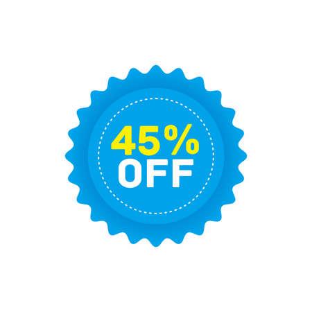 45% off big sale badge sticker, banner vector eps