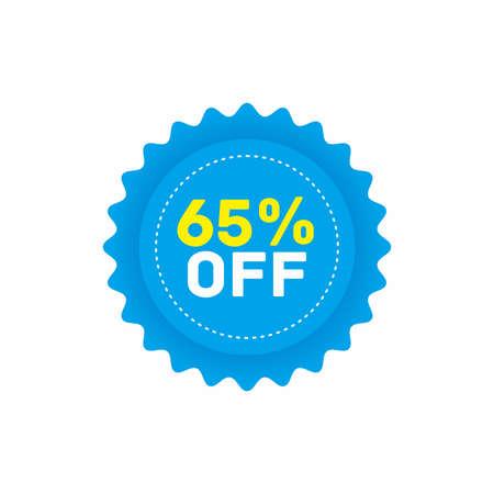 65% off big sale badge sticker, banner vector eps
