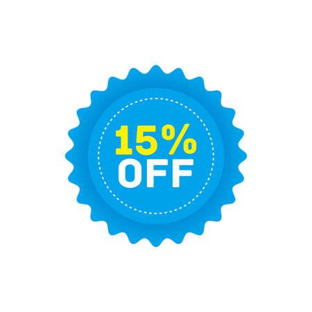 15% off big sale badge sticker, banner vector Vettoriali