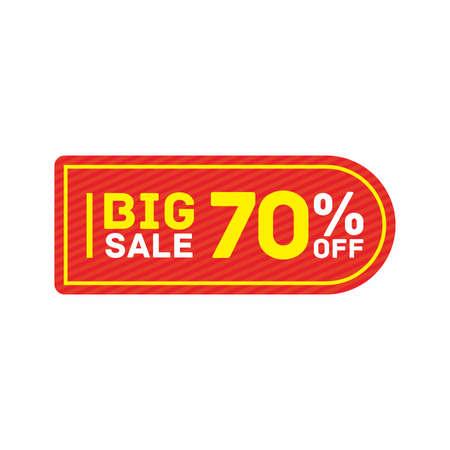 70% off big sale badge sticker, banner vector