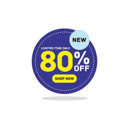 80% off big sale badge sticker, banner vector eps Vettoriali