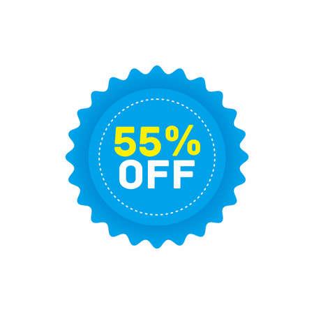 55% off big sale badge sticker, banner vector eps Vettoriali