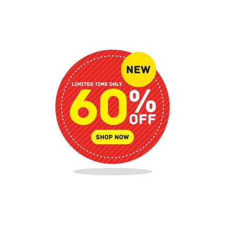 60% off big sale badge sticker, banner vector