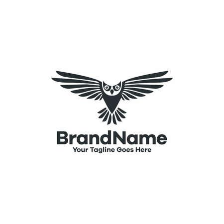 owl logo fly symbol vector