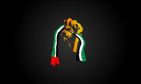 United Arab Emirates Flag Holding In Hand Man Stock Illustration