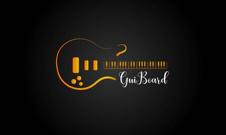music logo, combination of guitar logo and keyboard (piano) logo in one 写真素材 - 143422447