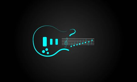 music logo, a combination of the guitar logo with the log note logo 写真素材 - 143422449