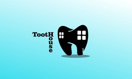 tooth and house combination, forming a tooth house logo.
