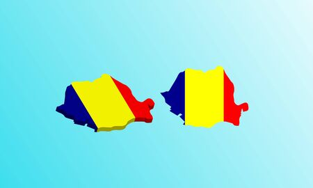 romania map 3D icon vector illustration. Çizim