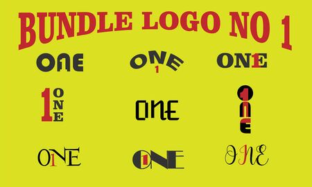 bundle logo no 1 (one) icon vector.