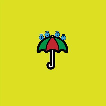 a combination of umbrella and rain of money. form a rain of money logo illustration
