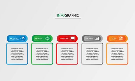 Timeline infographic vector design with 5 steps or processes for diagrams graphs and business presentations.