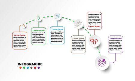 Timeline infographics design vector and marketing icons can be used for workflow layout  diagram  annual report  web design. Business concept with 6 options  steps or processes.