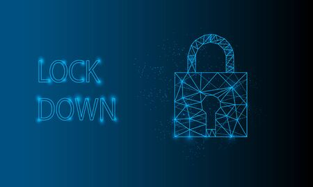 Glowng low poly padlock on blue abstract background. lockdown Vector illustration Vector Illustration