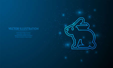 rabbit on blue abstract background. starlight background