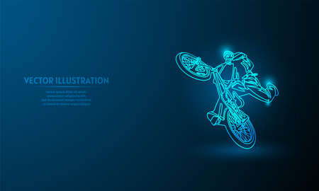 freestyle bmx on blue abstract background. simple blue background. Starlight background