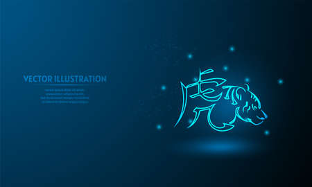 Chinese tiger zodiac sign on blue abstract background. chinese zodiac sign.