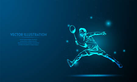 glowing player badminton on a dark blue background of the space with shining stars.
