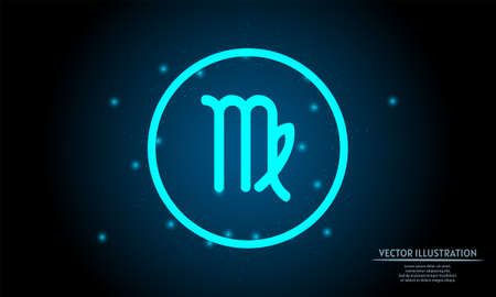 glowing virgo zodiac sign on dark blue background of the space with shining stars. zodiac glowing backgraound. Neon zodiac sign