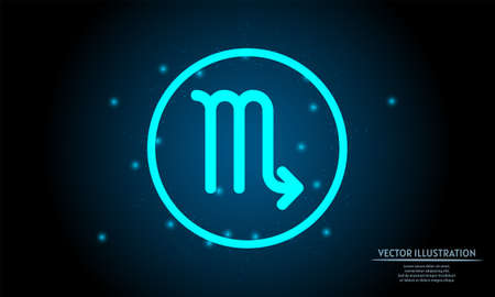 glowing scorpio zodiac sign on dark blue background of the space with shining stars. zodiac glowing backgraound 向量圖像