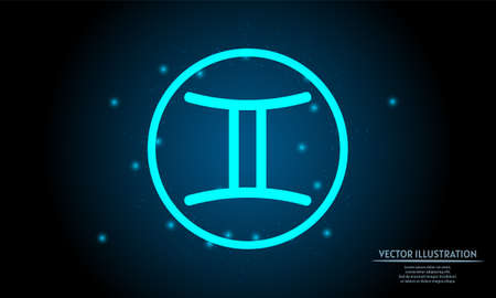 glowing gemini zodiac sign on dark blue background of the space with shining stars. zodiac glowing backgraound. Neon zodiac sign 向量圖像