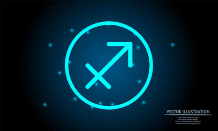 glowing sagittarius zodiac sign on dark blue background of the space with shining stars. zodiac glowing backgraound. Neon zodiac sign 向量圖像