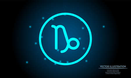 glowing capricorn zodiac sign on dark blue background of the space with shining stars. zodiac glowing backgraound. Neon zodiac sign