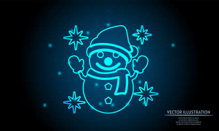 glowing snowman on dark blue background of the space with shining stars. merry christmas background