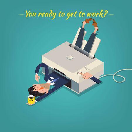 Businessmans morning illustration.Monday motivation concept Ilustracja