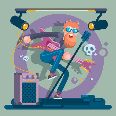 Bass Guitarist Rock Band Member Funny Character Illustration