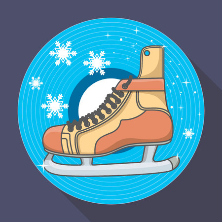 puck: Winter card with Ice skates and snowflakes Illustration