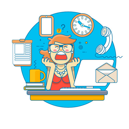 Linear Flat.Multitasking Stressed Business Woman in Office Work Place. Vector illustration