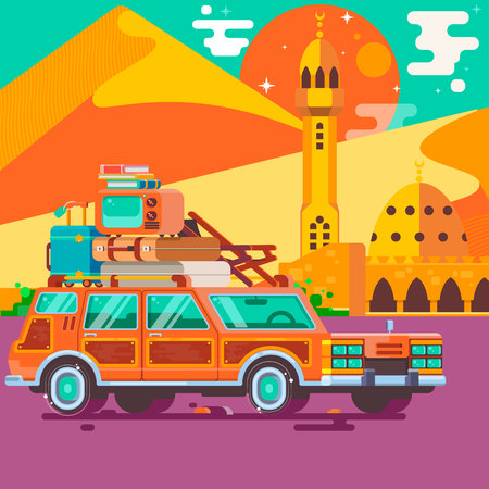 Summer vacations.Travel by car. Tourism and vacation theme. Flat design vector illustration.