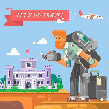 Tourist mit einem Koffer und einer Kamera geht zum Schloss Fotograf Charakter mit Kameras, die Fotos Vektor-Illustration Standard-Bild - 74957698