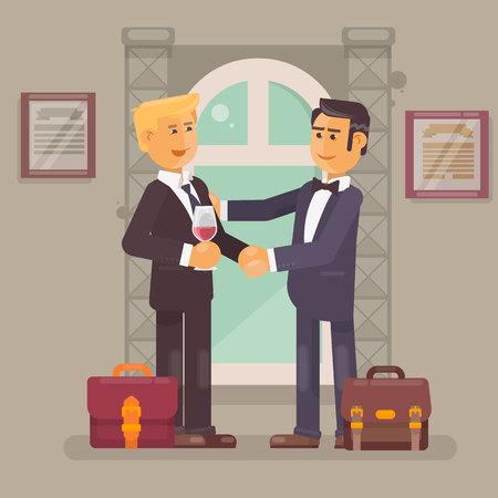 dealing: Business partnership Business people handshake for dealing success Vector flat illustration Illustration