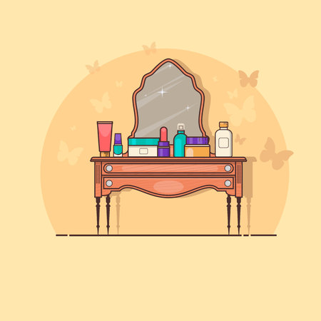 vanity table: Cosmetics on old wood vanity table in room interior Vector illustration