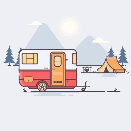 Retro caravan on the forest Travel concept Vector illustration