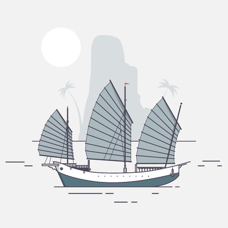 Junk boat sailing arriving to tropical island Flat vector illustration Illustration