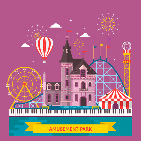 city: Amusement park with attraction and rollercoaster, tent with circus, carousel or round attraction, merry go round, ferris wheel Vector illustration