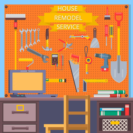 handtools: House remodel tools. Construction concept with flat icons .Flat vector illustration