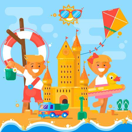 Children s summer activities at the beach.Vector illustration Illustration