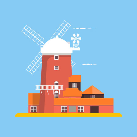 Beautiful windmill at Cley in Norfolk. Vector illustration Illustration