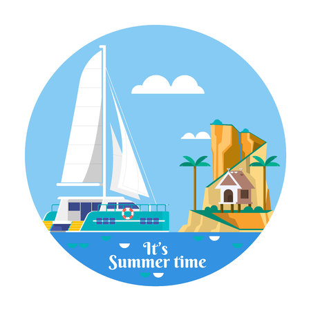 Summer vacation holiday tropical ocean island with palm tree. Vector illustration Illustration